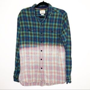 UO Koto Plaid Dip Dyed Flannel Shirt/Shacket